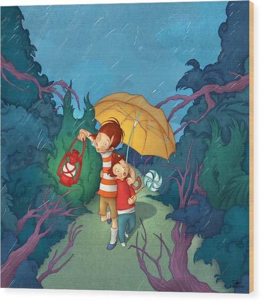 Children On Nocturnal Forest Wood Print by Autogiro Illustration