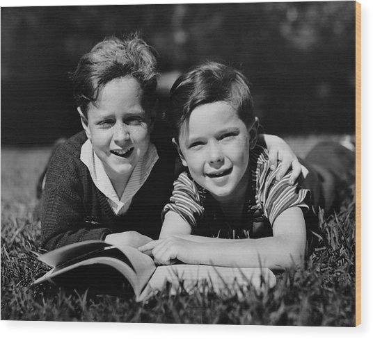 Children W/ Book Outdoors Wood Print by George Marks