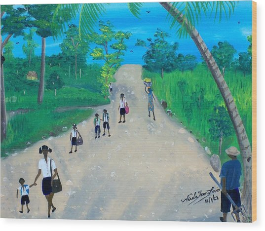 Children Walking To School Wood Print