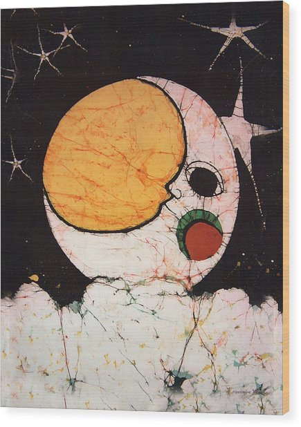 Children's Moon Wood Print by Alexandra  Sanders