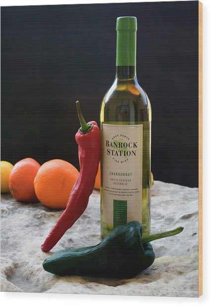 Chilis Wine And Citrus Wood Print