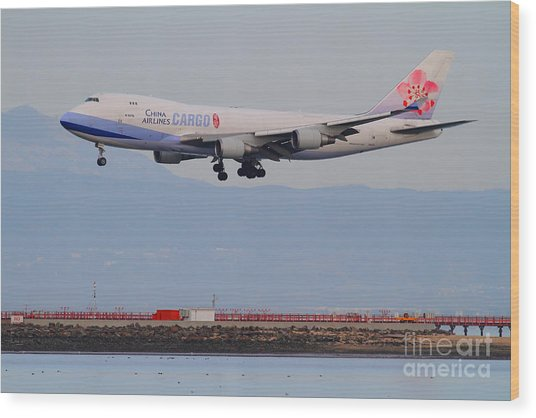 China Airlines Cargo Jet Airplane At San Francisco International Airport Sfo . 7d12299 Wood Print by Wingsdomain Art and Photography