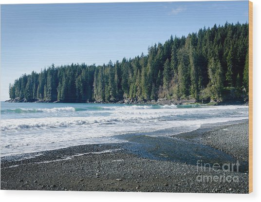China Surf China Beach Juan De Fuca Provincial Park Bc Canada Wood Print by Andy Smy