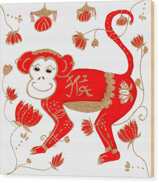 Chinese Astrology Monkey Wood Print