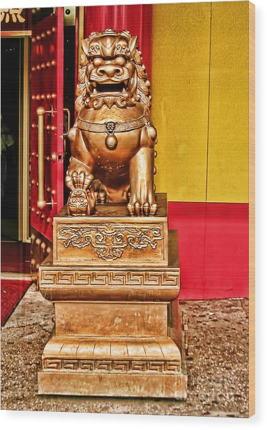 Chinese Lion Dragon-chinatown-nyc Wood Print by Anne Ferguson