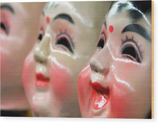 Chinese Masks Wood Print