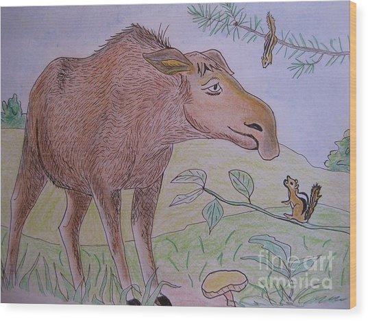 Chipmunks Tease Mildred The Moose Wood Print