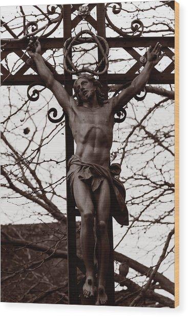 Christ Among The Ruins Wood Print by Pam Blackstone