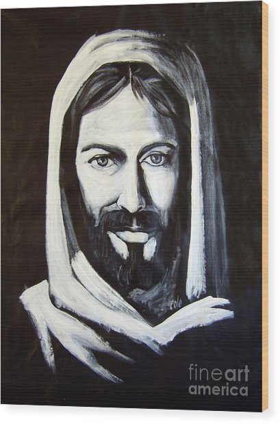 Christ Smiling Wood Print