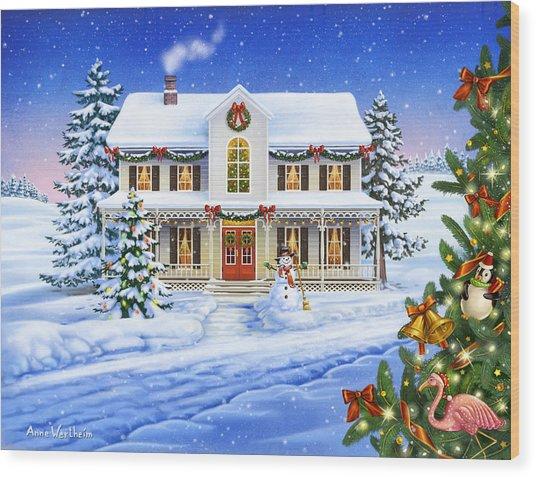 Christmas Cottage Wood Print