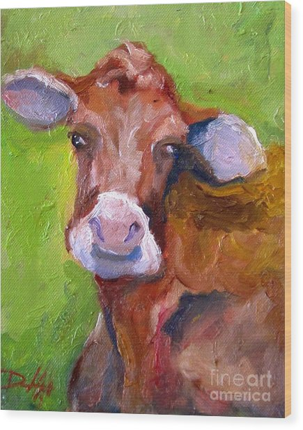 Christmas Cow On Green Wood Print by Delilah  Smith