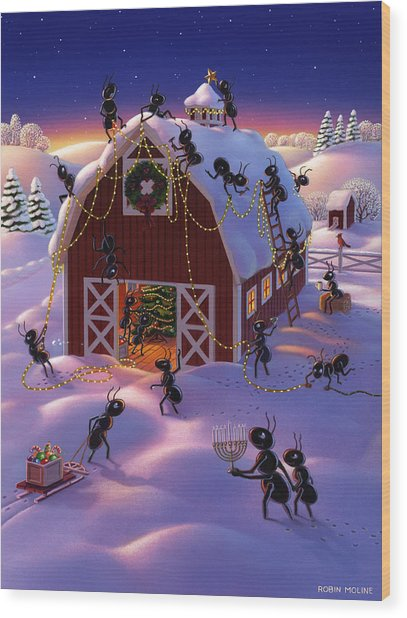 Christmas Decorator Ants Wood Print