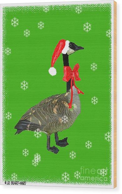 Christmas Goose Wood Print