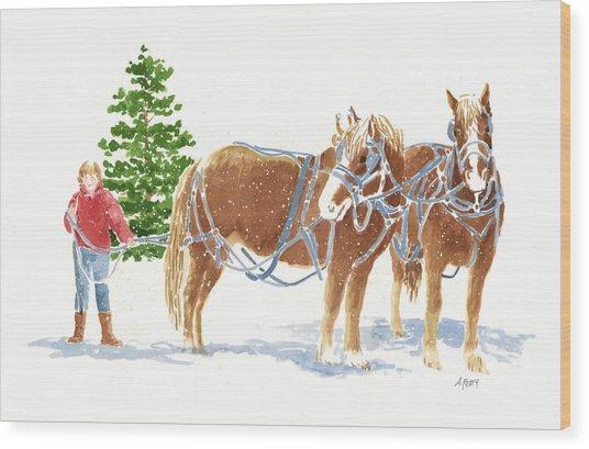 Christmas Horses Wood Print