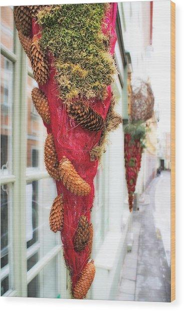 Christmas Ornaments In The Street Wood Print by Aleksandr Volkov