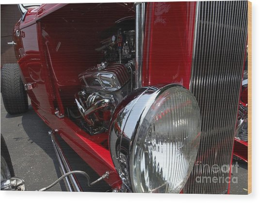 Chrome Engine Vintage Car Wood Print