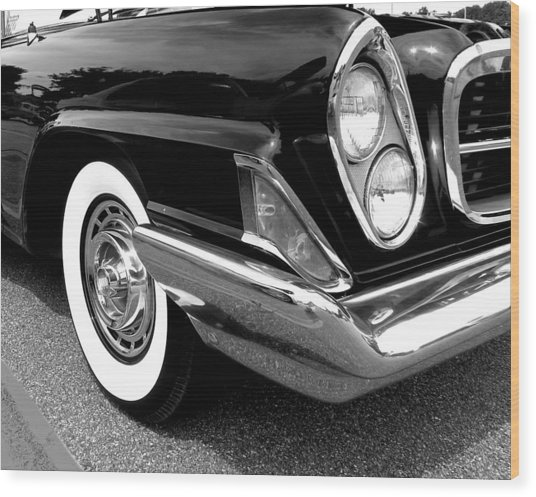Chrysler 300 Headlight In Black And White Wood Print