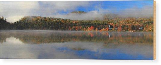 Church Across The Lake-panoramic Wood Print