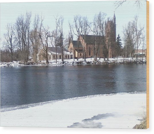 Church By The River Wood Print by Cecelia Taylor-Hunt