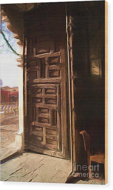 Church Door At Atotonilco Wood Print