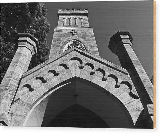Church Facade In Black And White Wood Print