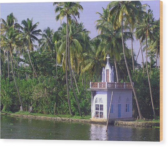 Church Located On A Coastal Lagoon In Kerala In India Wood Print