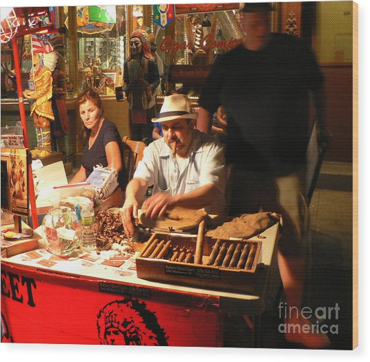 Cigar Roller Little Italy Wood Print by Elizabeth Fontaine-Barr