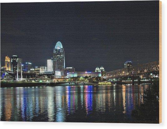 Cincinnati In Lights Wood Print by Tina Karle