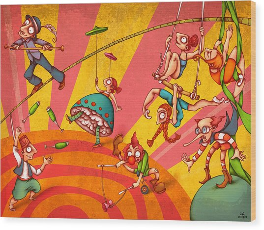 Circus 3 Wood Print by Autogiro Illustration