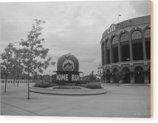 Citi Field In Black And White Wood Print