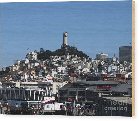 City Of San Francisco Wood Print by Serena Ballard