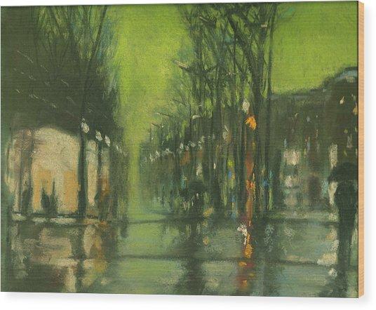 City Rain 6 Wood Print by Paul Mitchell