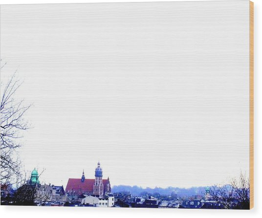 City Snowscape Wood Print by Lee Versluis