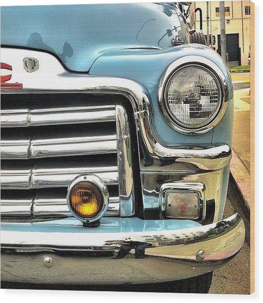 Classic Car Headlamp Wood Print