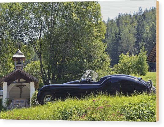 Classic Car Jaguar Xk120 Wood Print