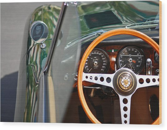 Classic Green Jaguar Artwork Wood Print