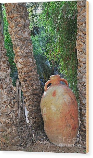 Clay Jar By Palm Tree Wood Print by Sami Sarkis