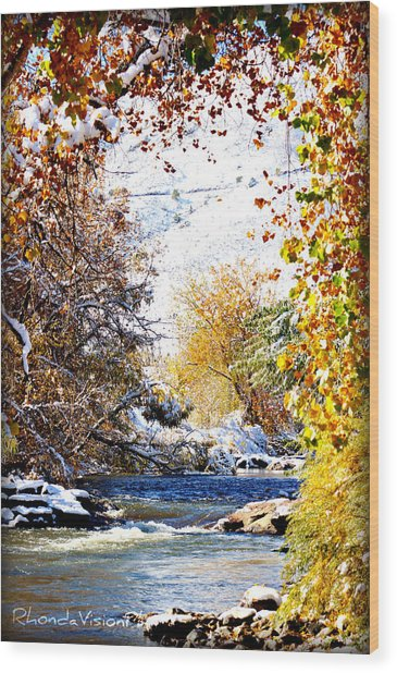 Clear Creek Golden Wood Print by Rhonda DePalma