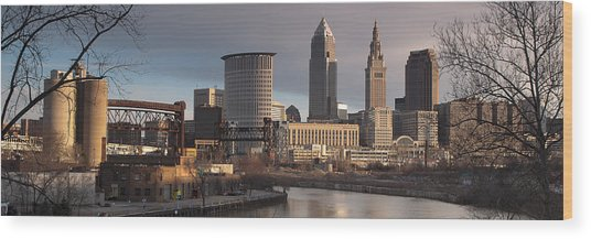 Cleveland Skyline From The Industrial Valley Wood Print by At Lands End Photography
