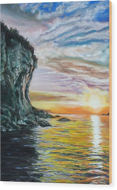 Cliff Sunset Wood Print by Peter Jackson