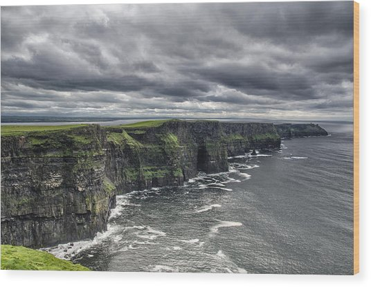 Cliffs Of Moher Wood Print by John Mee