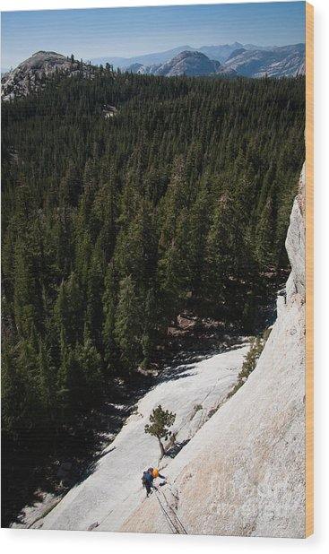Climber In Yosemite Wood Print