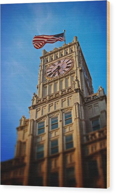 Clock Tower In Downtown Jackson 2 Wood Print