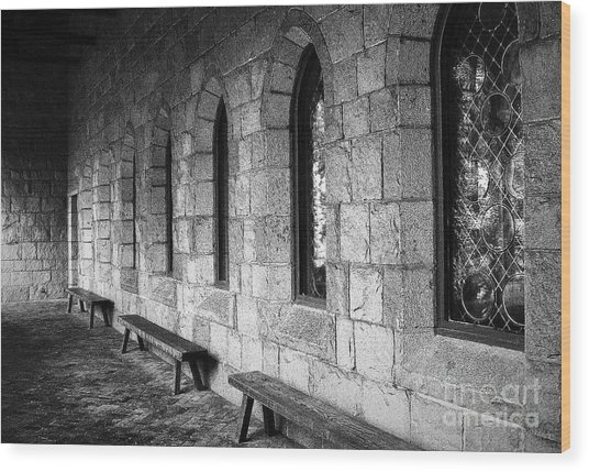 Cloisters Wood Print by Maria Scarfone