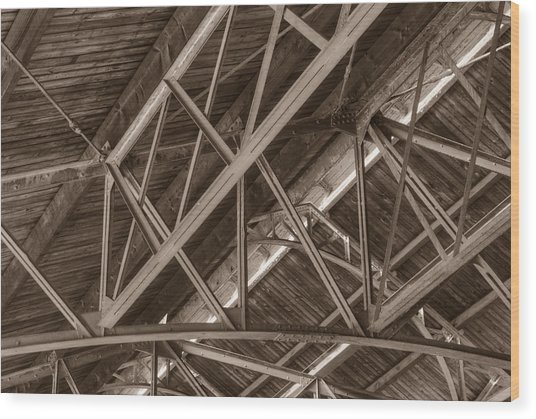 Closeup Of Trusses Wood Print