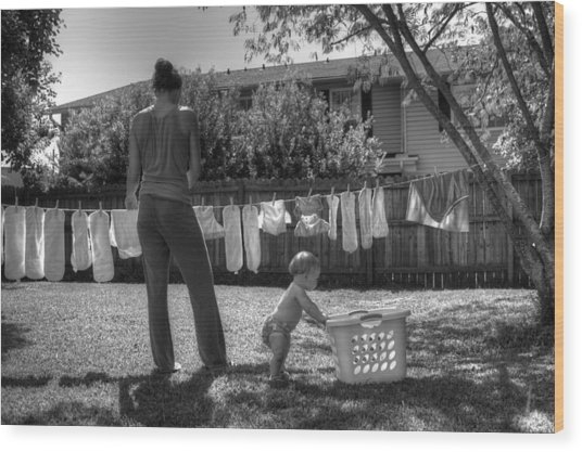 Cloth Diapers On The Line Wood Print by Justin Ellis