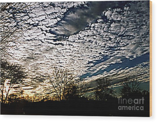 Cloud Blanket Sunset Wood Print