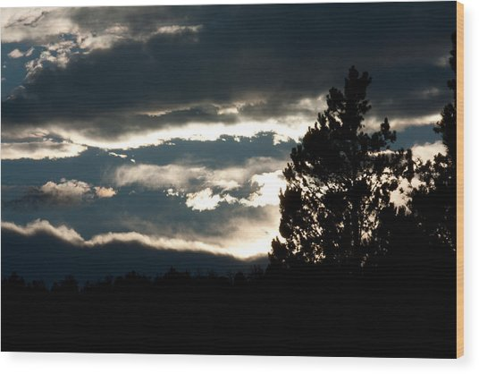 Clouds Giving Way To Sunset Wood Print by Jessica Lowell