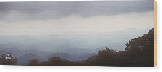 Clouds In The Mountains Wood Print