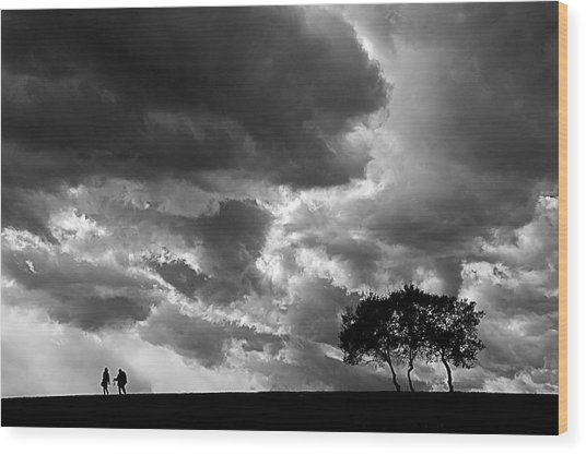 Clouds Wood Print